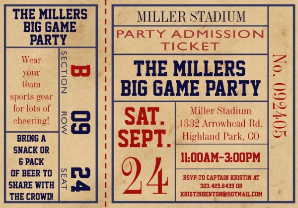 vintage sports ticket invite football party