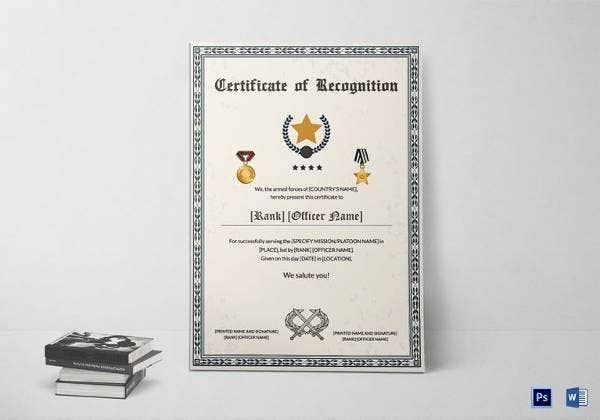 army-certificate-of-service-thank-you