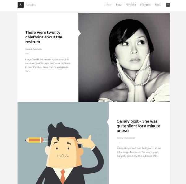 artistas modern portfolio blog theme
