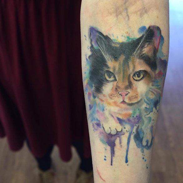 beautiful watercolour cat tattoo1