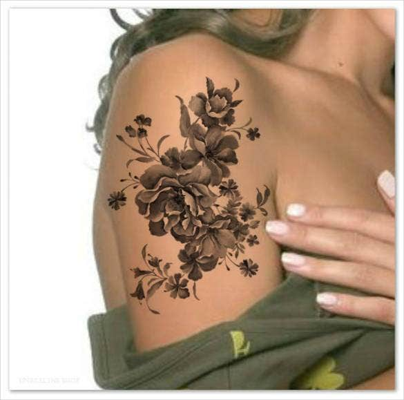 black flowers temporary watercolor tattoo1