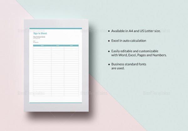 blank sign in sheet excel template