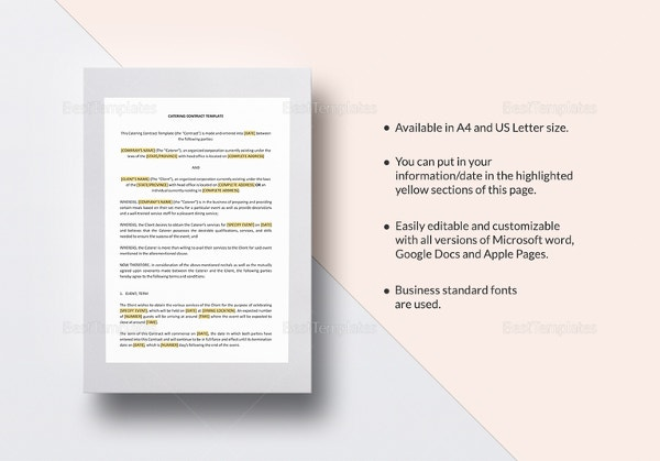 11 catering contract templates free word pdf documents download catering contract template in word pages for mac maxwellsz