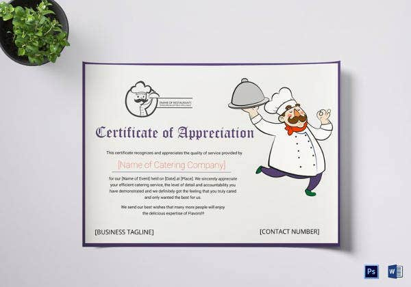 catering thank you certificate template