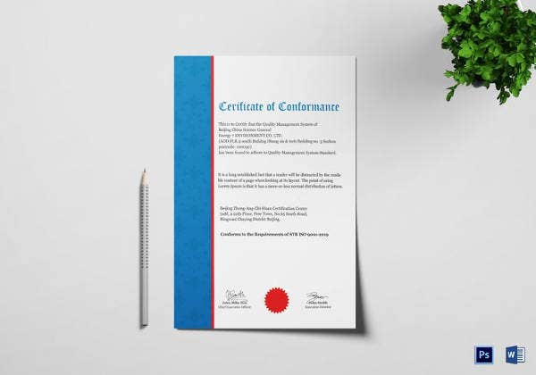 certificate of conformance template 6 free word pdf