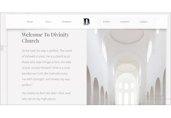 church events bootstrap template