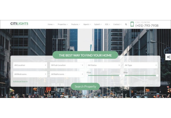 citilights real estate wordpress theme