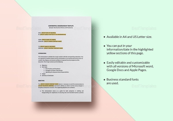confidential-memo-template