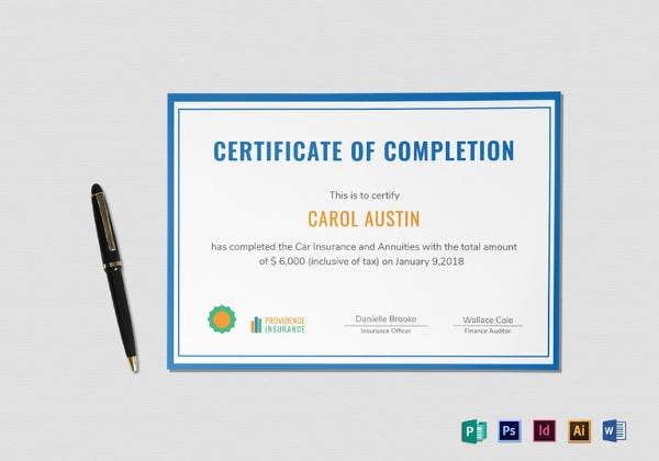 editable insurance completion certificate template