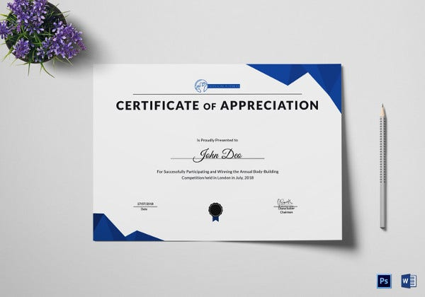 Editable Physical Fitness Reciation Certificate