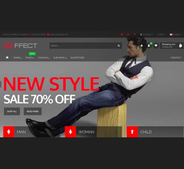 effect responsive e commerce template
