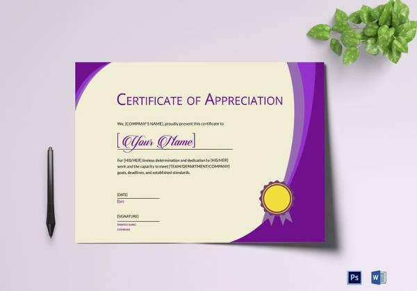 expression of thank you certificate template