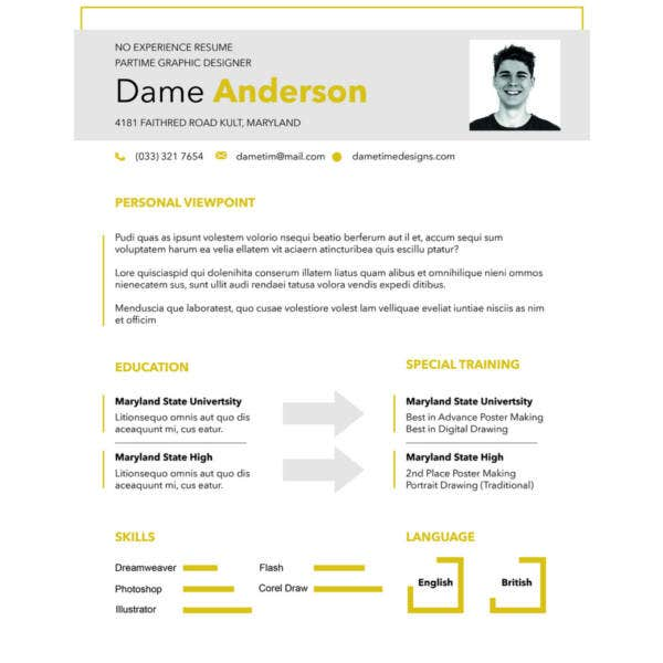 free no experience resume template