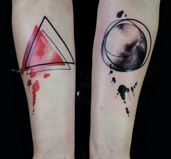geometric triangle circle watercolor tattoo1