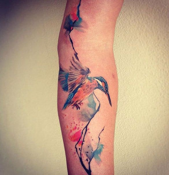 huming bird watercolor tattoo best design1
