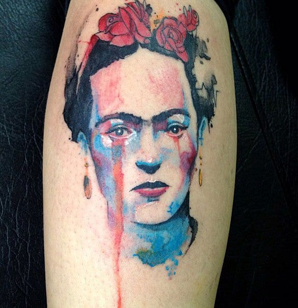 hurted lady watercolor tattoo design1