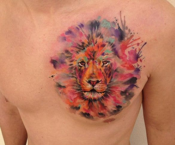 lion water color tattoo design1