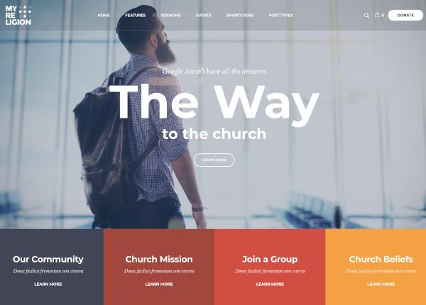 modern church donations website theme