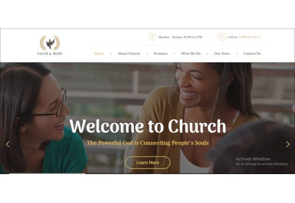 modern church religion wordpress theme