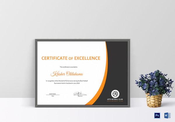 netball certificate design template
