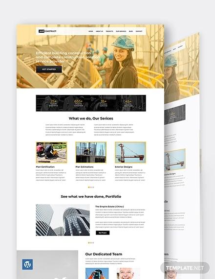 one page construction wordpress themetemplate