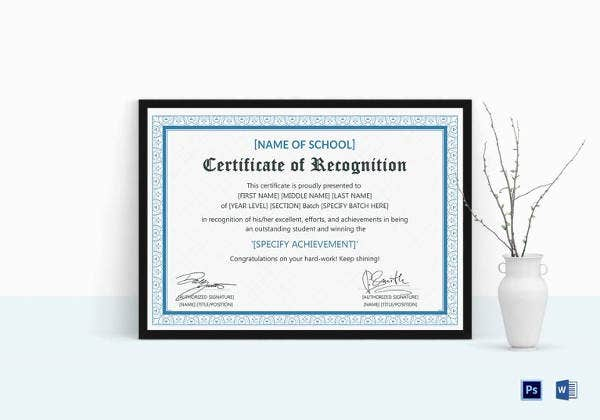 outstanding student recognition certificate template