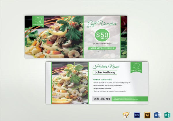 psd food gift voucher template