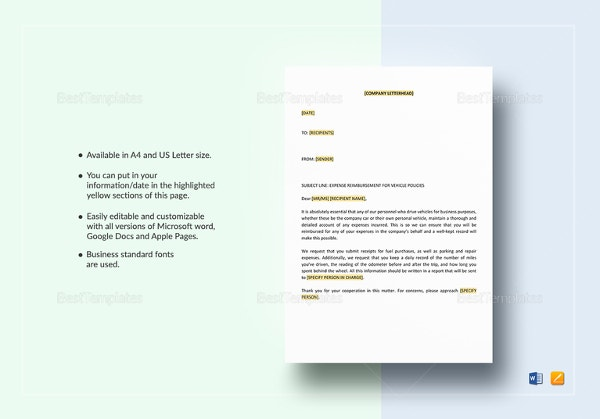 policy-letter-on-vehicle-expense-reimbursement-template