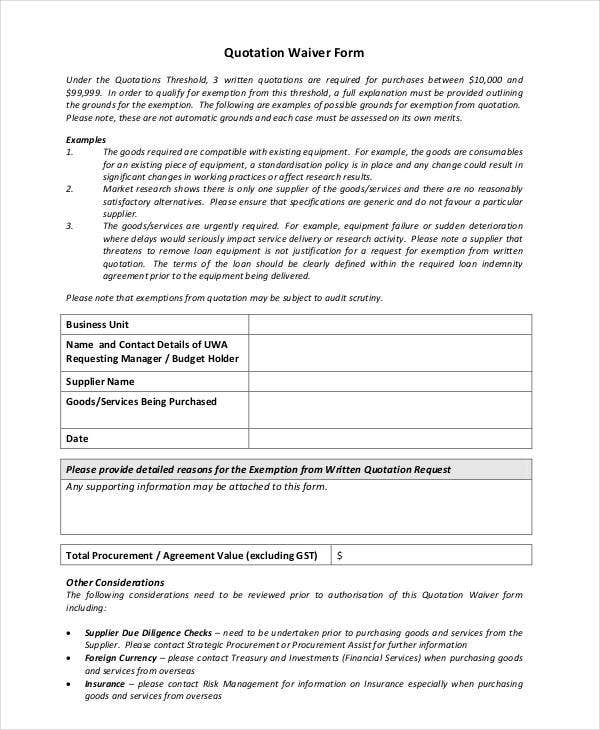 Audit Quotation. Printable Quotation Waiver Form 30+ Quotation