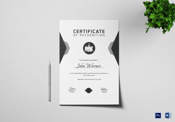 prize winning recognition certificate template