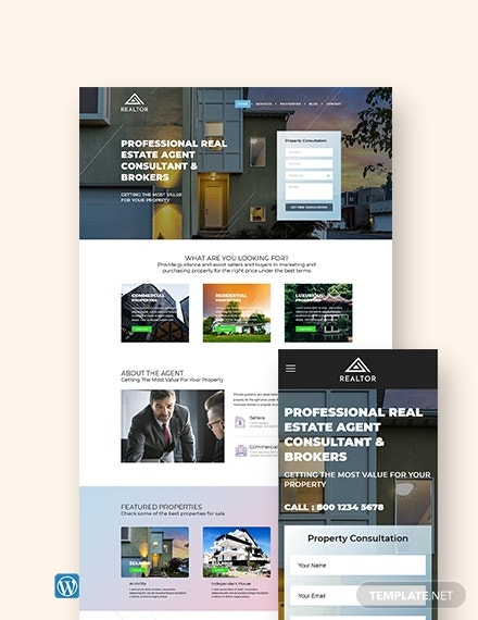 real estate agent realtor wordpress themetemplate