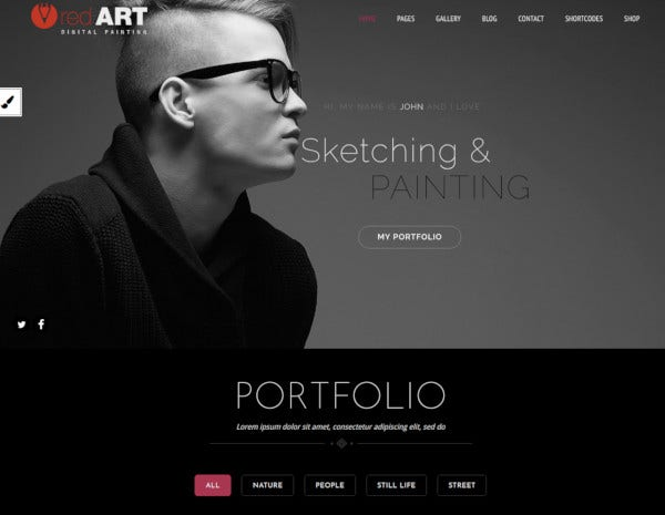 red artist portfolio theme