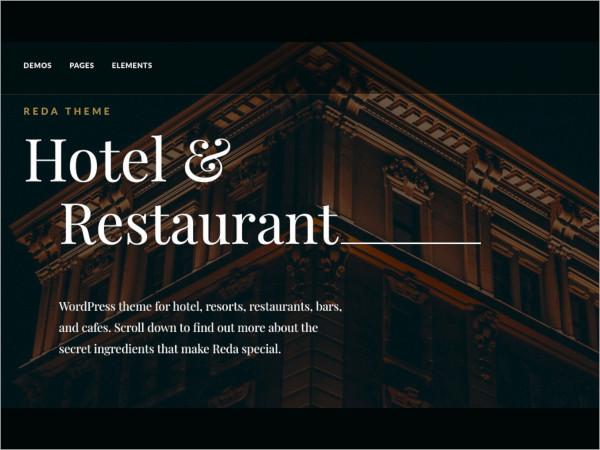 reda hotel restaurant wordpress theme