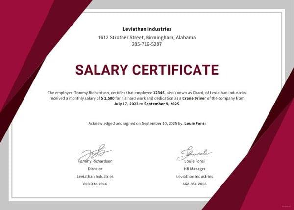 work certificate template