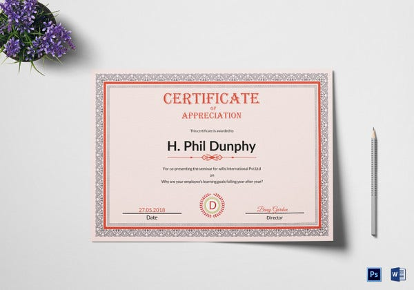 Certificate of appreciation template 22 free word pdf psd simple appreciation certificate template yadclub Images