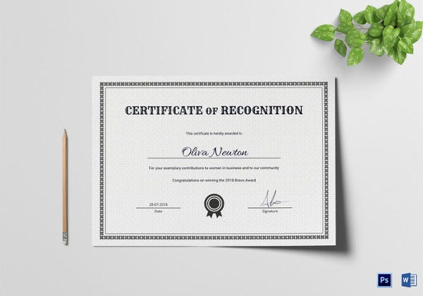 sample certificate of recognition template