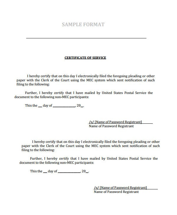 Certificate Of Service Template 7 Free Word Pdf Documents