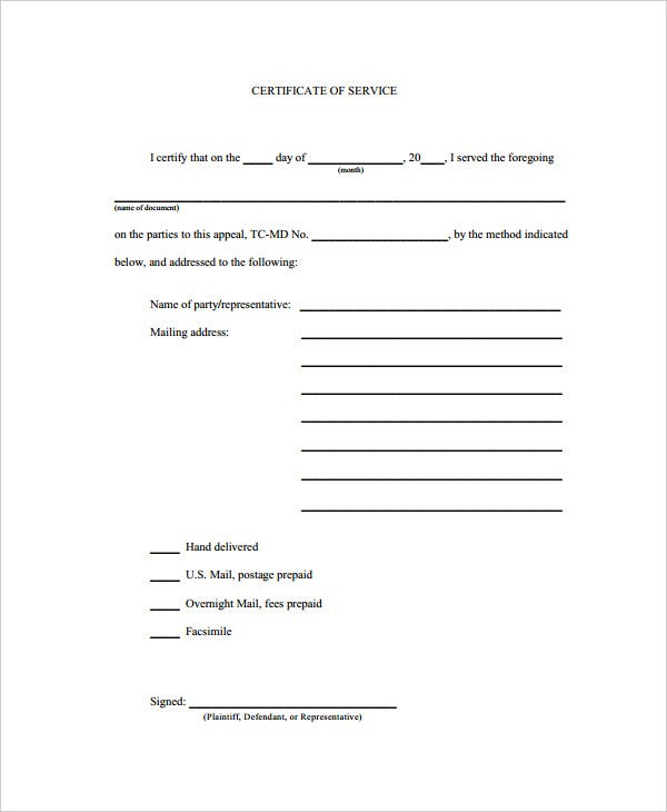 Certificate Of Service Template   Free Word Pdf Documents