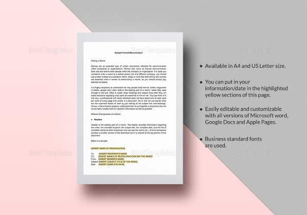 sample formal memorandum template