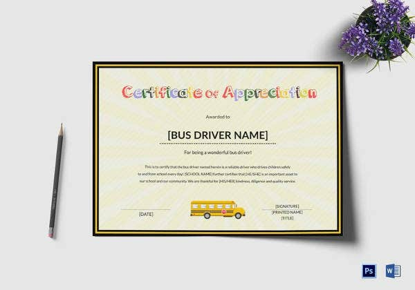 school bus driver thank you certificate template