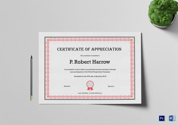 Certificate of appreciation template 24 free word pdf psd simple appreciation certificate template yelopaper Gallery