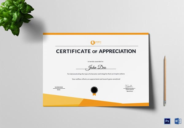 Certificate of appreciation template 22 free word pdf psd sportsmanship appreciation certificate psd template yadclub Image collections