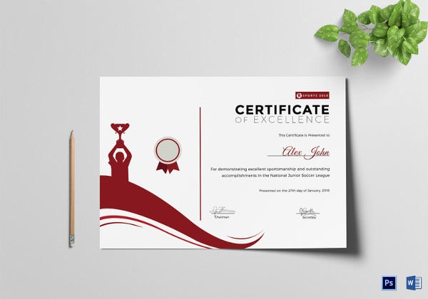 sportsmanship certificate of excellence template