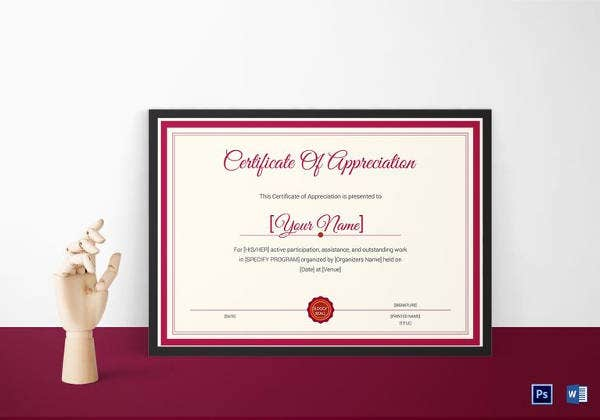 Thank You Certificate In PSD Template