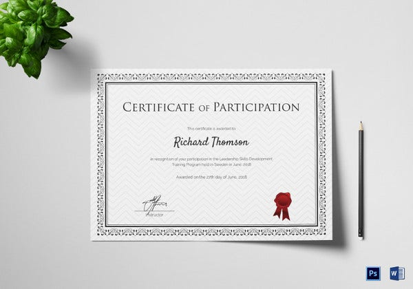 training participation certificate word