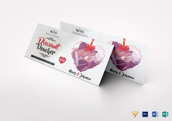 valentine discount voucher photoshop template