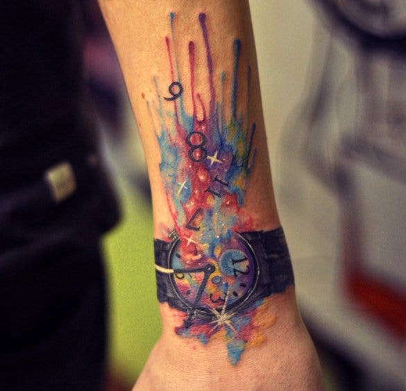 watch watercolor tattoo on wrist1