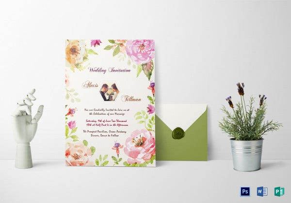 watercolor wedding invitation psd template