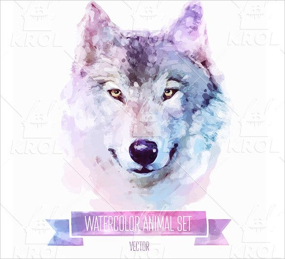 wolf watercolor tatto set of animal1