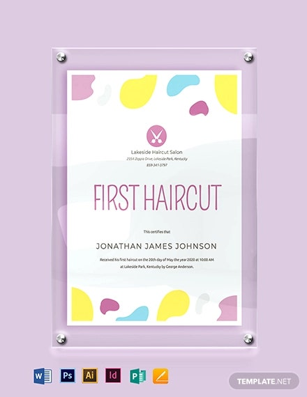 baby first hair cut certificate